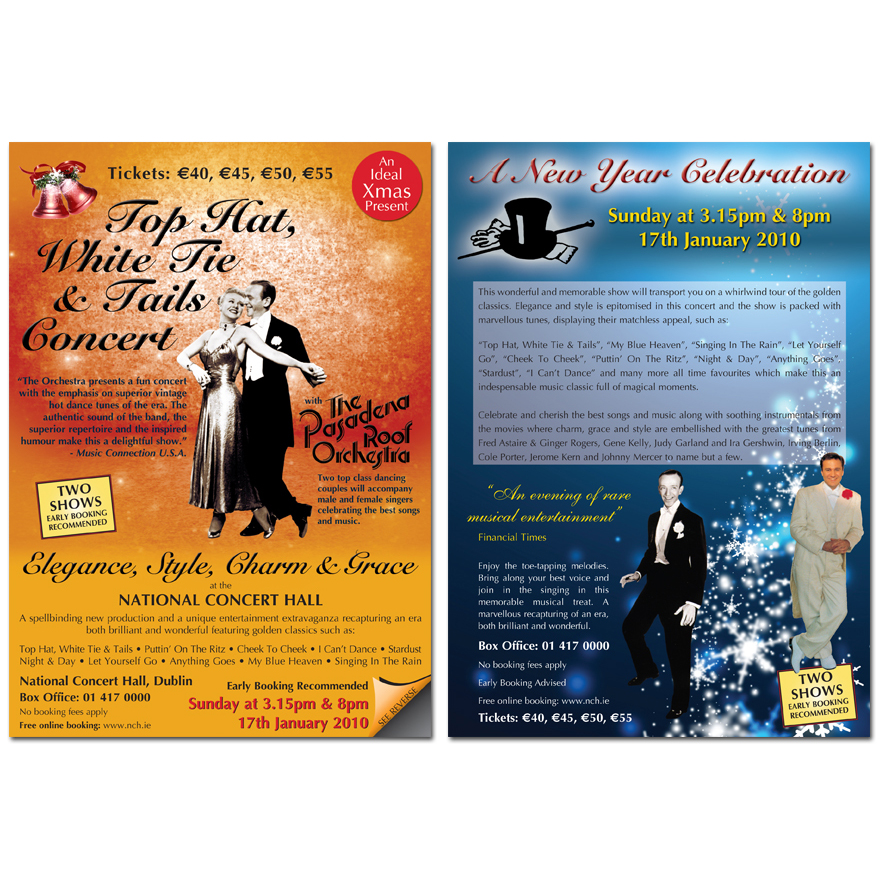 The National Concert Hall | Top Hat, White Tie and Tails Concert Flyer